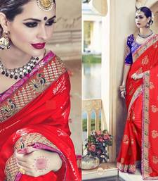 Buy Red georgette saree with blouse hand-woven-saree online