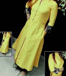 Buy Yellow plain stitched cotton-kurtis cotton-kurti online