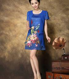 Buy Blue printed satin stitched silk-kurtis silk-kurti online