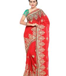 Buy Red embroidered georgette saree with blouse karwa-chauth-saree online
