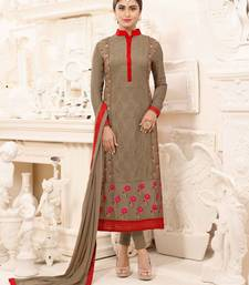 Buy Brown embroidered georgette salwar with dupatta straight-suit online