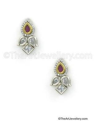 Ruby Red Antique Victorian Stud Earrings Jewellery for Women - Orniza