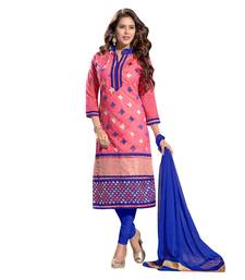 Buy Pink embroidered cotton salwar with dupatta straight-suit online