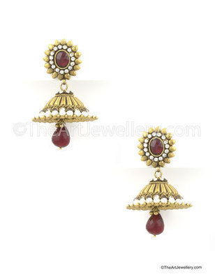 Maroon Red Traditional Rajwadi Jhumki Earrings Jewellery for Women - Orniza