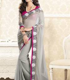 Buy Grey embroidered faux georgette saree with blouse designer-embroidered-saree online