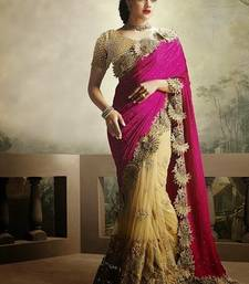 Buy Pink embroidered faux georgette saree with blouse designer-embroidered-saree online