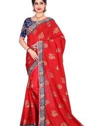 Buy Red embroidered satin saree with blouse karwa-chauth-saree online