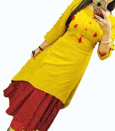 Buy Yellow plain cotton long-kurtis long-kurtis online