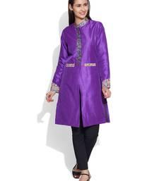 Buy Purple dupion silk plain ethnic jackets ethnic-jacket online