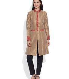 Buy Beige dupion silk plain ethnic jackets ethnic-jacket online