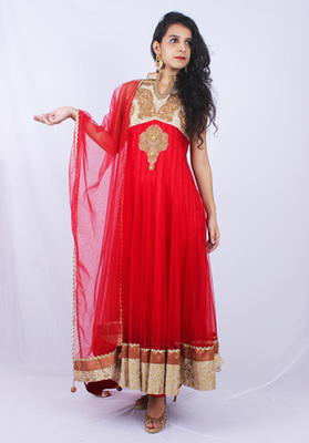 Red Beige Net Diamond Thread Embroidery Anarkali