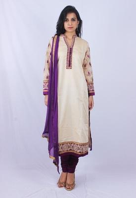 Beige Purple Gadwaal Silk Machine Stone Embroidery Churidaar Kameez
