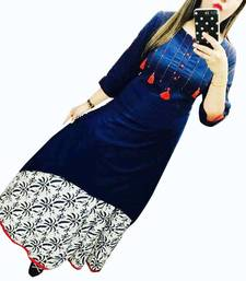 Buy Blue plain cotton long-kurtis long-kurtis online