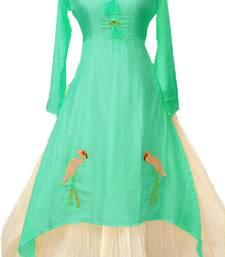 Buy Green plain chanderi long-kurtis long-kurtis online
