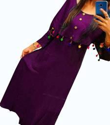 Buy Purple plain rayon long-kurtis long-kurtis online