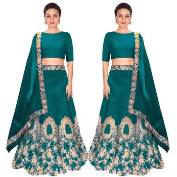 Teal embroidered silk unstitched lehenga with dupatta