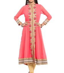 Buy Pink embroidered georgette stitched long-kurtis long-kurtis online
