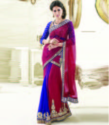Buy Red embroidered net saree with blouse pre-stitched-saree online