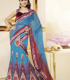 Buy Blue embroidered net saree with blouse lehenga-saree online