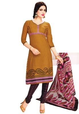 Brown & Burgundy Cotton unstitched churidar kameez with dupatta