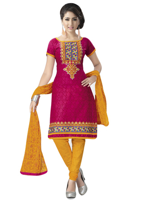 Pink & Yellow Cotton unstitched churidar kameez with dupatta