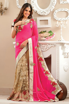 Gold Georgette & Net combo zari & stone worked saree in pink pallu-SR6052