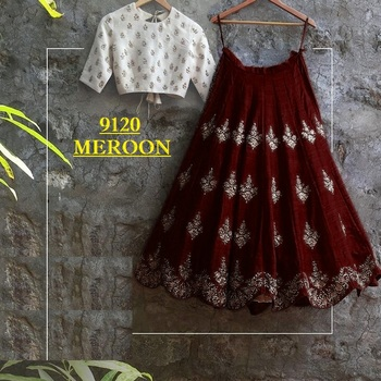 Maroon embroidered silk unstitched lehenga with dupatta