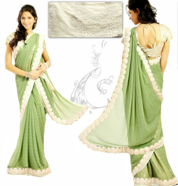 Georgette Pista Green Saree