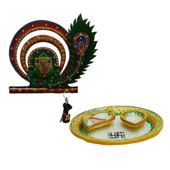 Combo of Lord Ganesha with Mor Pankh Key Holder and Pooja Thali