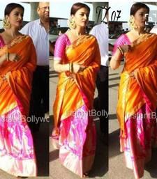 Buy Orange printed faux tussar silk saree with blouse tussar-silk-saree online