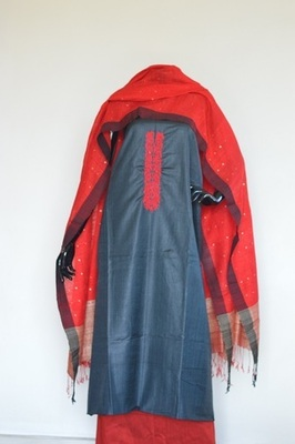 Black colour, Hand embroidery, Tussar silk, churidhar, party-wear-salwar-kameez