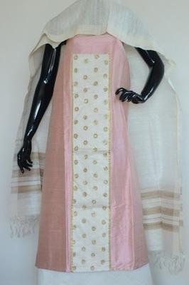 Light Pink colour, patch work, Raw silk, silkchuridhar, party-wear-salwar-kameez