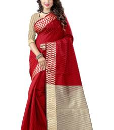 Buy Maroon woven cotton silk saree with blouse karwa-chauth-saree online