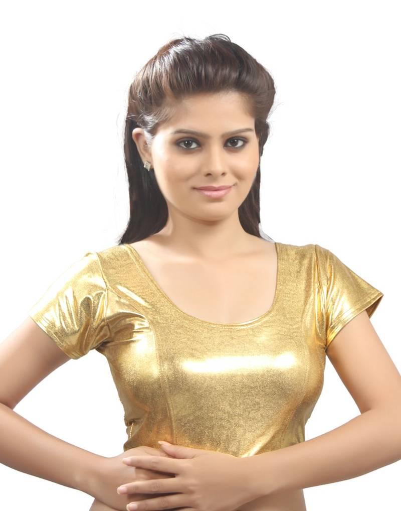 Buy Satin Gold Lycra Stretchable Blouse Size L Online