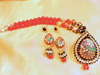 black handmade goldpatra in ruby onex mala necklace