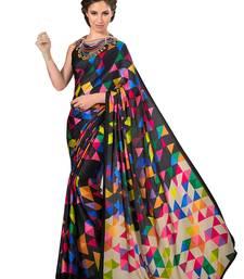 Buy Black printed silk saree with blouse printed-saree online