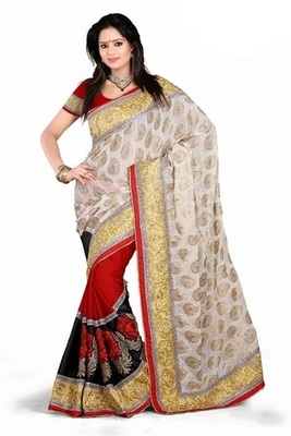 Red Semi Chiffon Beautiful Embroidered Sarees With Unstitched Blouse