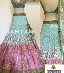 Buy Sky blue embroidered net unstitched lehenga with dupatta lehenga online
