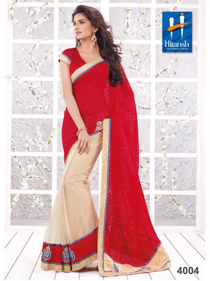 Red & Cream Net Patch Work Saree with blouse piece