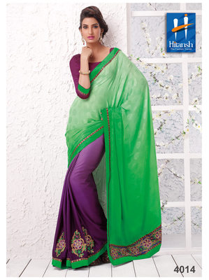Purple & Green Georgette  Saree with blouse piece