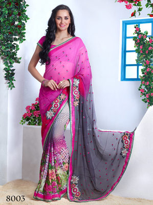 Multicolor  Chiffon Embroidery Saree with blouse piece