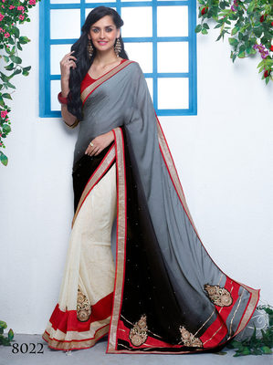 Black & wthite  georgette Patch Work Saree with blouse piece