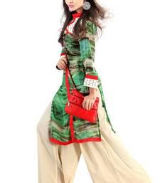 Buy Green Georgette Digital Printed Pakistani Kurti pakistani-kurtis online