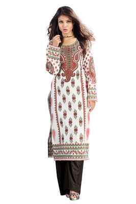 Off white Chanderi Kurti Comprising Traditional Motif