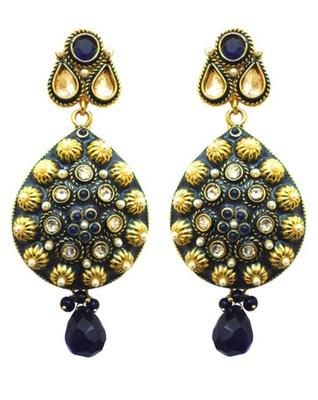 beautiful blue color polki earring