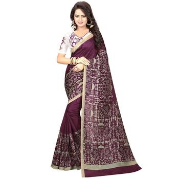 Brown printed kalamkari saree with blouse