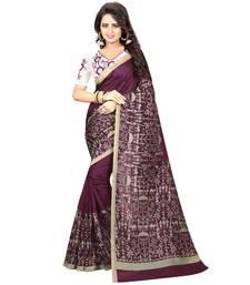 Buy Brown printed kalamkari saree with blouse kalamkari-saree online