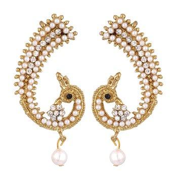 Reeti Fashions- Peacock motif Pearl Ear-cuffs