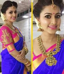 Buy light_blue plain chanderi saree with blouse cotton-saree online