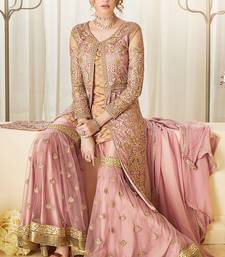 Buy Pink embroidered net salwar with dupatta dress-material online